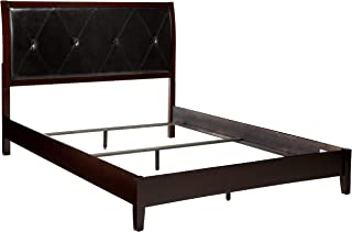"""Major-Q Modern Contemporary Design 87"""" x 64"""" x 49"""" H Padded Button Tufted Headboard Low Profile Footboard Black PU Cappuccino Finish Wooden Queen Size Panel Bed Frame, 8019540q"""