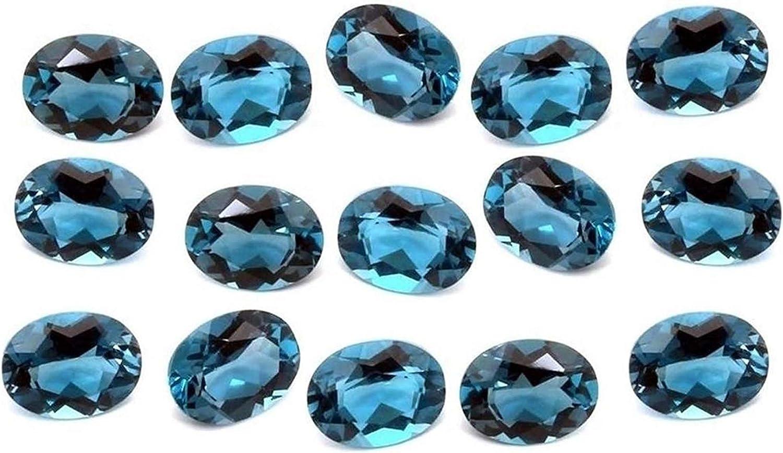 eGemCart Naturel London Bleu Topaze 5X3mm Forme Ovale /À Facettes Coupe en Vrac pour La Fabrication De Bijoux Qualit/é AAA calibr/ée Taille 5X3 mm Pierres Semi-pr/écieuses