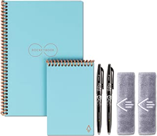 Rocketbook Smart Reusable Notebook Set - Dot-Grid Eco-Friendly Notebook with 2 Pilot Frixion Pens & 2 Microfiber Cloths Included - Neptune Teal Covers, Executive (6