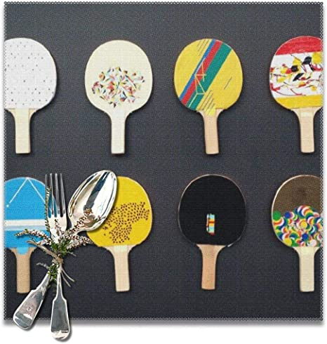 Amazon Com Bun Placemats Square Set Of 6 For Dining Room Kitchen Table Decor Table Tennis Ping Pong Multicolor Print Table Mats Washable Home Kitchen