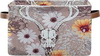 AUUXVA MLHlover Vintage Cow Skull Sunflower Square Storage Basket Bin Canvas Fabric Compressible Organizer Basket with Han...