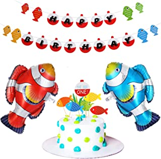 36 Pieces Fishing First Birthday Decorations, Fisherman Birthday Banner The Big One First Birthday Fishing Cupcake Toppers, Fish Foil Balloons for Baby Shower Fishing Theme Party Supplies