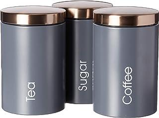 MegaChef Conjunto de recipientes para armazenamento e organização de alimentos, 3 peças, cinza
