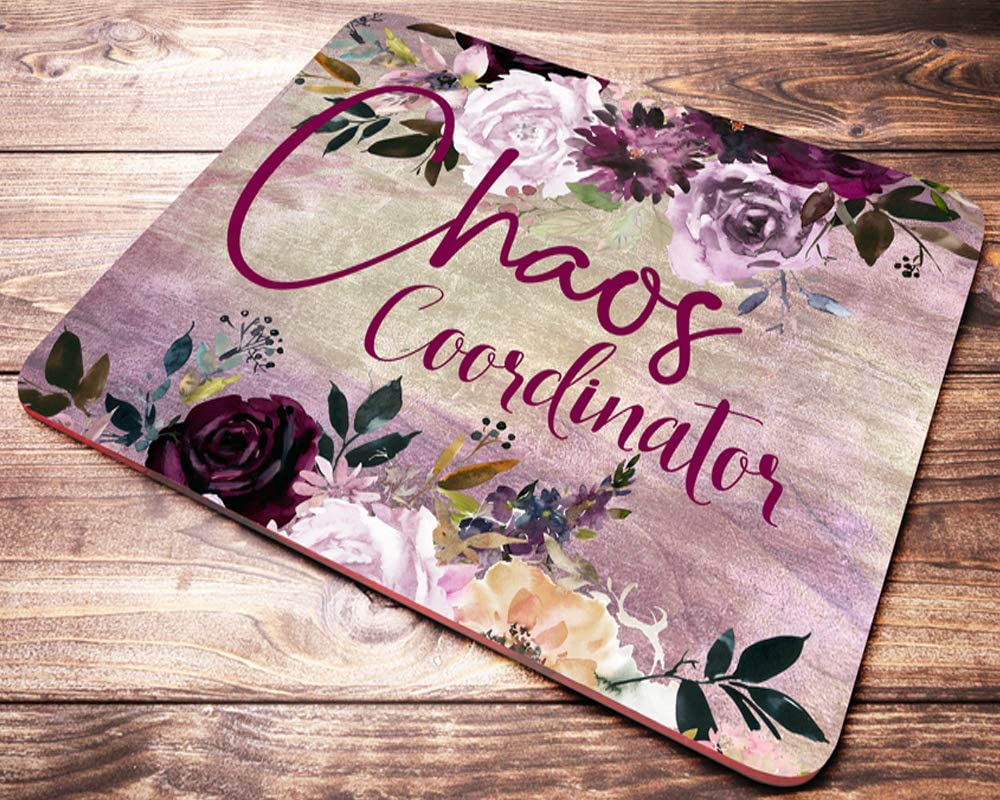Funny Quote Chaos Coordinator Mouse Pad Burgundy Pink Floral Watercolor Teacher Mousepad Desk Accessories Decor for Women