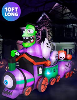 Holidayana 10 ft Graveyard Train Airblown Halloween Lawn Inflatables, Giant Spooky Weather Resistant Inflatable Decor with LED Lights, Built-in Fan, and Tie-Downs