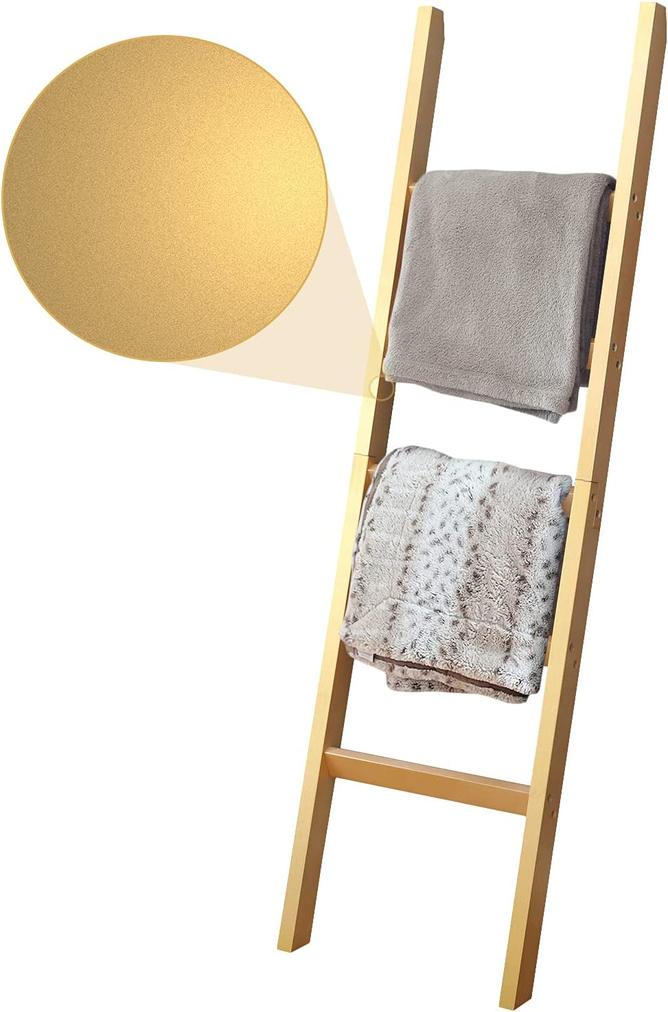 Gold Blanket Ladder Leaning Rack (5 Tier) – Wooden Farmhouse Home Decor – Holder for Quilts, Towels & Stand for Throws – Golden Decorative Storage Shelf – Leaning Blanket Ladder