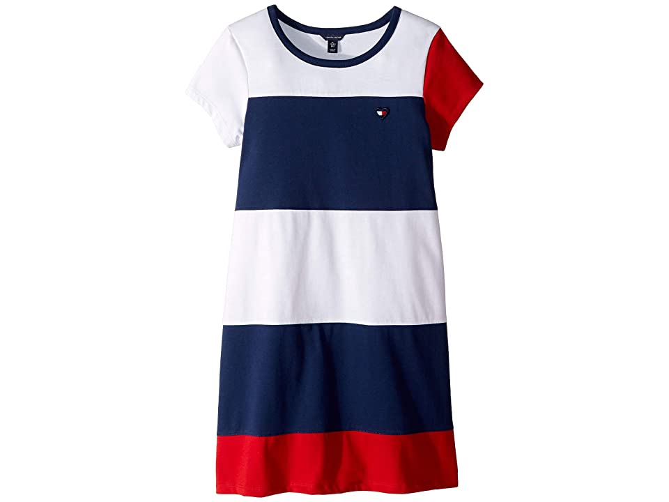Tommy Hilfiger Kids Color Block Jersey Dress (Big Kids) (Flag Blue) Girl