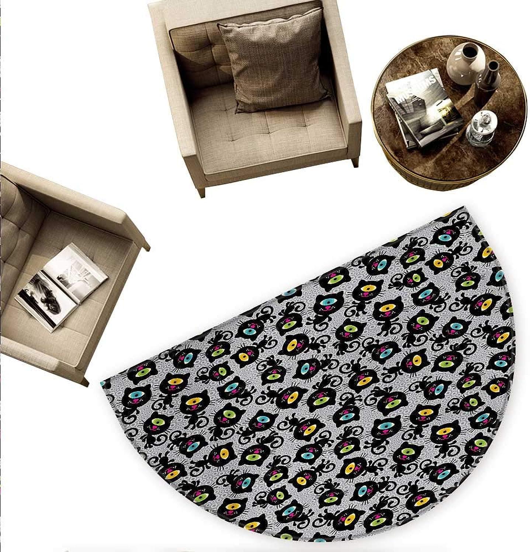 Cat Half Round Door mats Kitty Forms with Trippy Eye on Head Freaky Spiritual Kitten Pets Animal Graphic Style Bathroom Mat H 78.7  xD 118.1  Black Grey