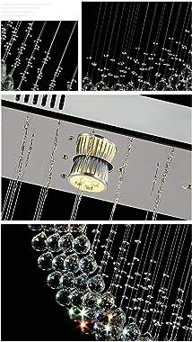 MAYL Modern Galaxy Falls Linear Rectangular Island Dining Room Crystal Chandelier Lighting Fixture