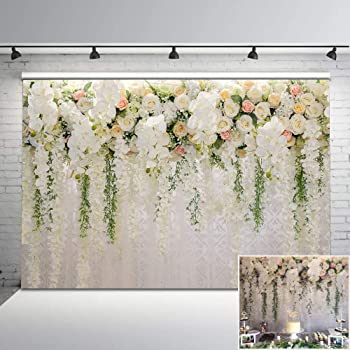 CSFOTO 14x10ft White Blooming Flowers Wooden Board Backdrop Loving Hearts Mothers Day Decor Wedding Party Supplies Birthday Background for Photography Baby Shower Photo Wallpaper