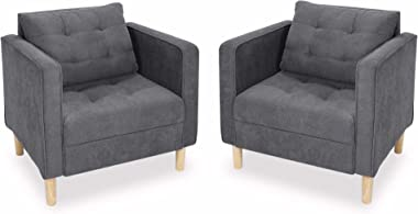 STHOUYN Mid Century Modern Upholstered Fabric Accent Chair with Arms Set of 2 Armchair Comfy Reading Chair for Living Room Office Couch, Single Sofa Set Bedroom Grey