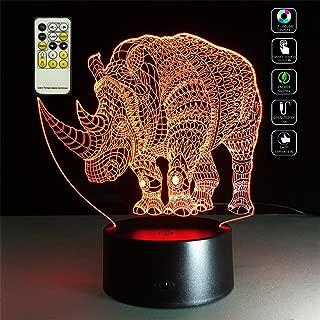 Deerbird Endangered Aminal Rhinoceros Figurine 3D Visualization Illusion Multi-colored Change USB/3-AA Batteries Remote Control LED Desk Lamp Nightlight for Room Decorative or Friends Kids