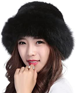 Womens Winter Hat Knitted Mink Real Fur Hats with Fox Brim