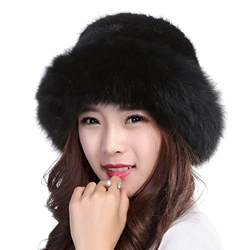 0576fe47db1ba Valpeak Womens Winter Hat Knitted Mink Real Fur Hats Fox Brim