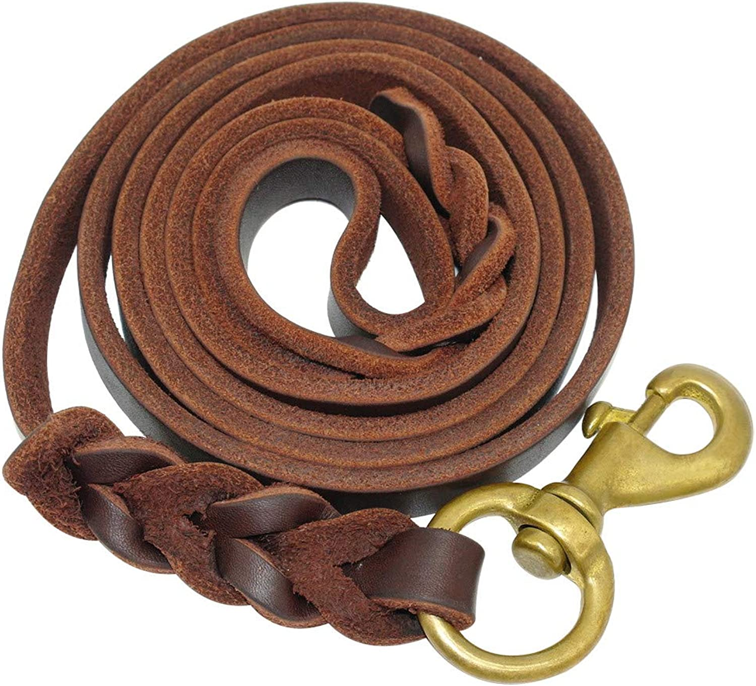 CAOBOO Pet Dog Leash Braided Leather Dog Leash Pet K9 Walking Training Leash Lead for Medium Large Dogs German Shepherd Gift Dog Training Clicker Brown 12mm x 265cm