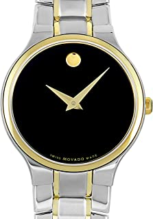 Movado Serio Black Dial Two Tone Stainless Steel Ladies Watch 606902
