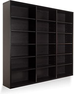 Atlantic Oskar 540 Wall Mounted Media Storage Espresso Cabinet, Large
