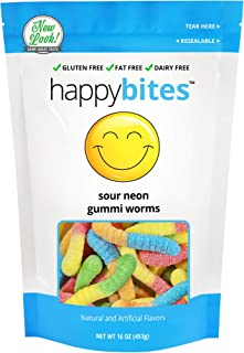 Happy Bites Sour Neon Gummi Worms - Gluten Free, Fat Free, Dairy Free - Resealable Pouch (1 Pound)