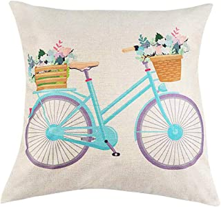 "Vibola Pillow Case Cover,Spring Flowers Tree Bicycle Balloons Print Cotton Linen Cushion Cover,Square Throw Waist Pillow Case Pillowcase Sofa 18""x 18"" (D)"