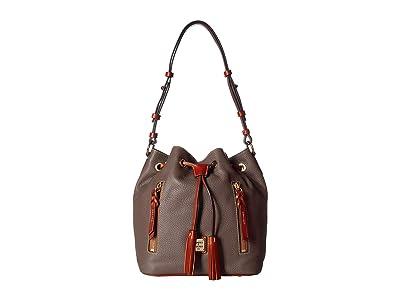 Dooney & Bourke Pebble Cooper Drawstring (Elephant/Tan Trim) Drawstring Handbags