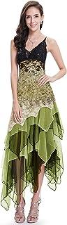 Vestido de Fiesta Noche Asimétrico en Encaje Volantes Escote Mujer 6212B