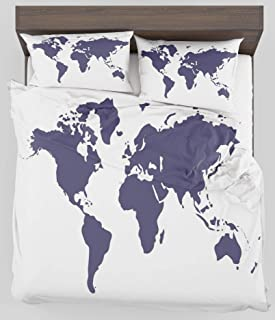ZELXXXDA Decor Bedding Set Map Indigo Colored Graphic Map of The World Vivid Display International Global Theme Twin/Twin XL Size Duvet Cover with 2 Matching Pillow sham