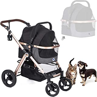 HPZ Pet Rover Prime 3-in-1 Luxury Dog/Cat/Pet Stroller (Travel Carrier + Car Seat +Stroller) with Detach Carrier/Pump-Free...