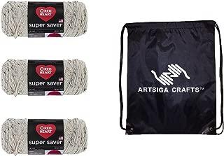 Red Heart Knitting Yarn Super Saver Aran Fleck 3-Skein Factory Pack (Same Dyelot) E300-4313 Bundle with 1 Artsiga Crafts Project Bag