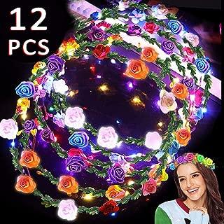 12 Pack Christmas Party Favors LED Headband Flower Crowns, Flashing Flower Wreath Headband 10 Led Flower Headpiece Flower Headdress Glow In The Dark Supplies for Girls Women Wedding Festival Party