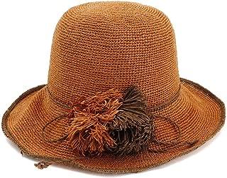 Happy-L Hat, Special Fine Crochet Women Straw Hat Fine Fringed Straw Sun Hat Foldable Travel Sunscreen Fisherman Hat Beach Hat Leisure Fashion Cap. (Color : Orange, Size : 56-58cm)