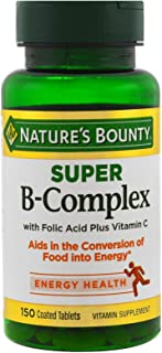 Sponsored Ad - Nature's Bounty B-Complex with Folic Acid Plus Vitamin C, Tablets 150 Each (Pack of 3)