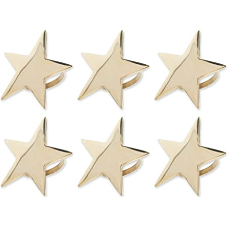 DII Decorative Fall & Winter Holiday Napkin Rings, One Size, Gold Stars 6 Count