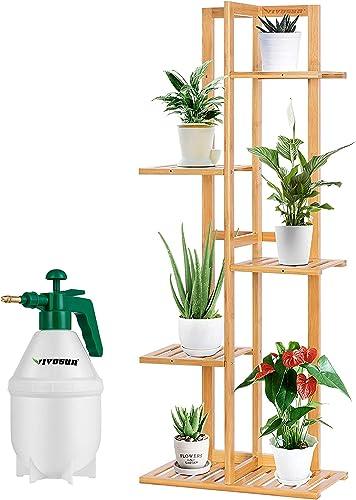 2021 VIVOSUN 5 Tier 6 Potted 2021 Bamboo Plant Stand, 0.4Gallon Hand held Garden Sprayer Pump outlet online sale 50 oz 1.5L Green sale
