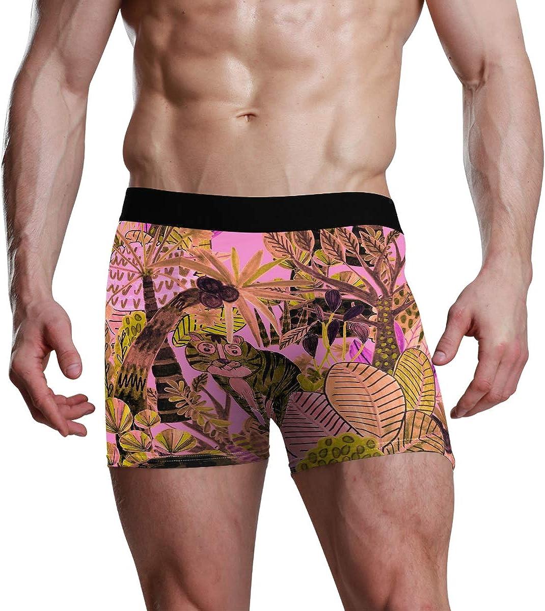 Mens Boxer Briefs Funny Animal Tiger Pink Coconut Tree Low Rise Trunks Underwear Breathable Bikini Boys