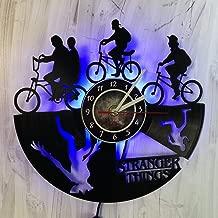 CHESNOshop Stranger Things - LED Wall Lights, Night Light, Wall Lamp, Handmade LED Vinyl Wall Clock Remote Control LED Vintage Backlight Art Cool Living Room Interior Decor (Blue)