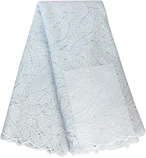 Aisunne 5 Yards African Lace Fabrics Classics Nigerian French Lace Fabric with Embroidered for Wedding Party Dresses (White)