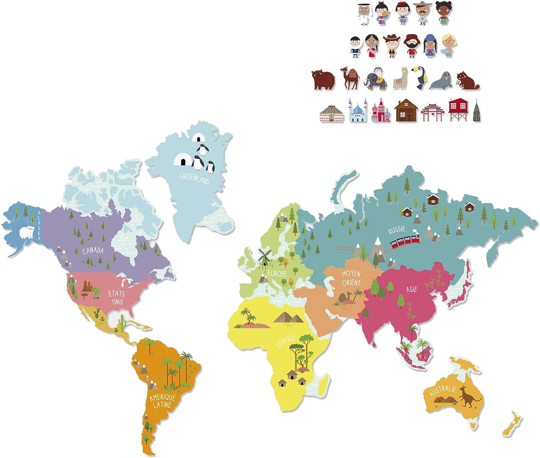 Grünbaudet Magnetweltkarte für Kinder weiß ONE ONE ONE Größe B01BJN8TWM 4f22b1