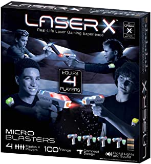 .LASER X. Micro Blasters Real Life Gaming Experience 4-Player Set, Includes 4 Micro Blasters and 4 Arm Band Receivers with Full Color Lighting Effects and Batteries