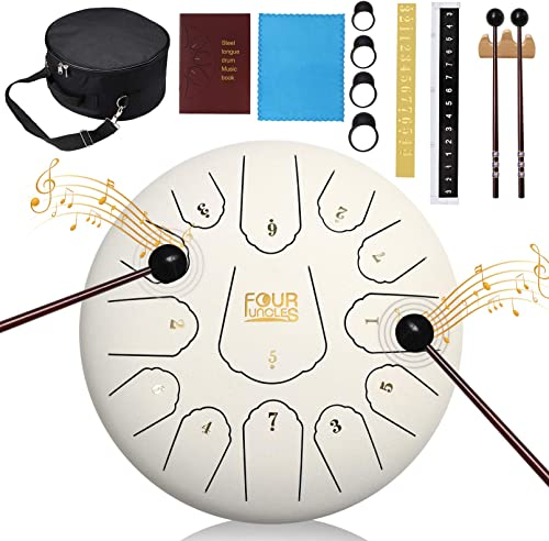 FOUR UNCLES Steel Tongue Drum, Percussion Instrument Handpan Drum C Key with Bag, Music Book and Mallets for Meditati...