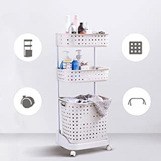 3 Tire Laundry Basket Rolling Laundry Storage Utility Cart with Locable wheels,80lbs Capacity