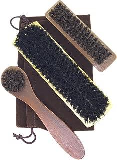 [Fumemo] 靴磨き シューズ ブラシ 馬毛 豚毛 3点 セット シューケア 革製品 用 袋 入り 家庭 雑貨