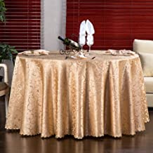 Cloth Tablecloths Desktop decoration Kitchen Stain Restaurant Banquet Anti-wrinkle Wedding [round]-Golden 120x180cm(47x71inch)