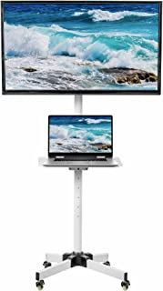 VIVO White Mobile Tv Cart for 23 to 55 Inch LCD Led Plasma Flat Screen Panel, Trolley Floor Stand with Locking Wheels (Sta...