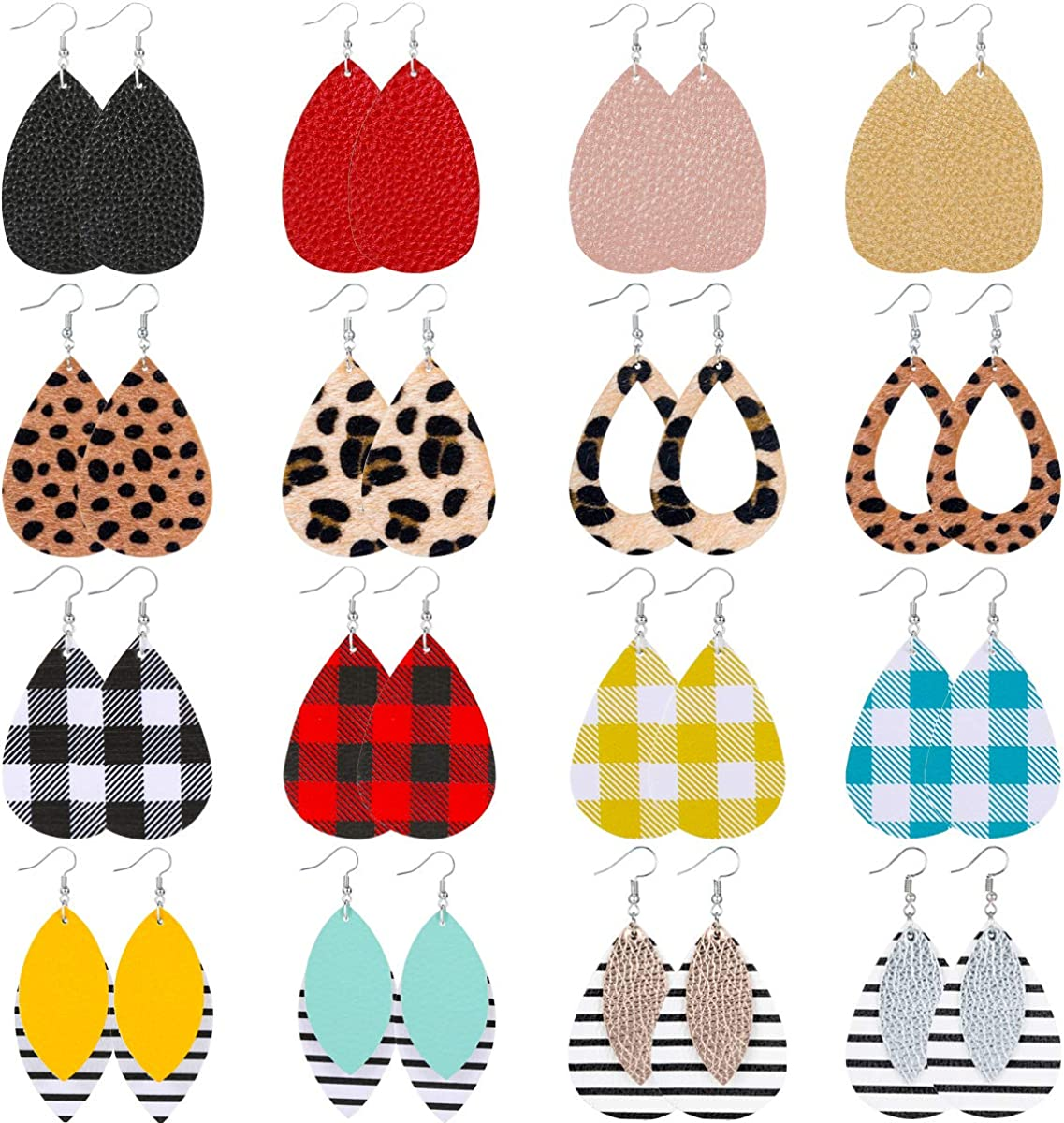 Starain 16 Pair Faux Leather Our shop most popular Earring Women Lightweight Girls Max 76% OFF for