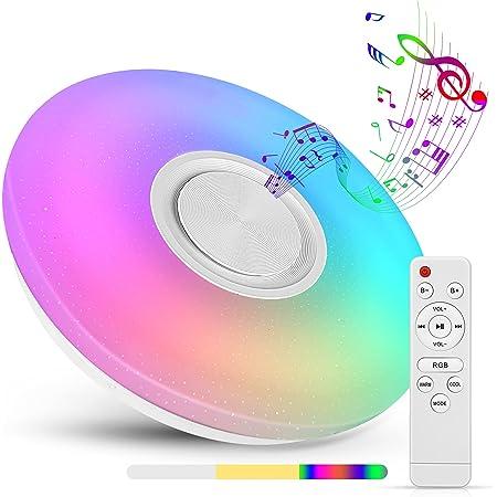 Plafonnier LED, 36W Luminaire Plafonnier avec Haut-parleur Bluetooth Musiqu, Plafonnier Chambre RGB avec télécommande et contrôle APP, Plafonnier Interieur 3000-6500K pour Chambre Enfants, Salon