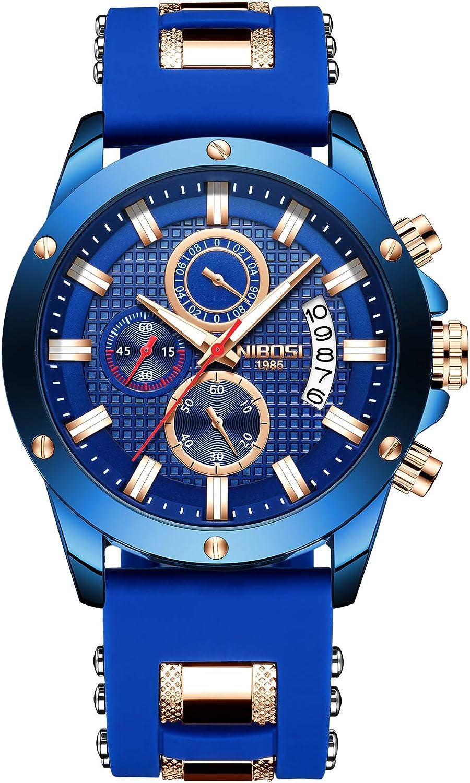 NIBOSI Watches Men's Chronograph Quartz Wrist OFFer Waterproof Fashion OFFicial shop