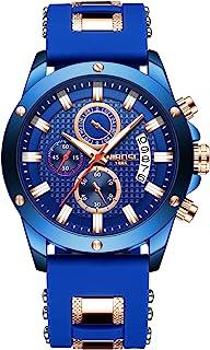 NIBOSI Men's Chronograph Quartz Watch Fashion Casual Dress Wristwatches for Men Blue Calendar Date Watch