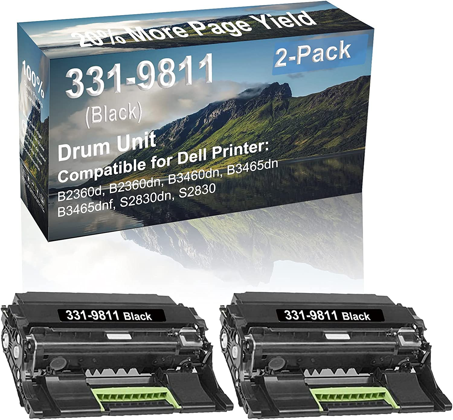2-Pack (Black) Compatible B3460dn, B3465dn Printer Drum Unit Replacement for Dell 331-9811 Drum Kit