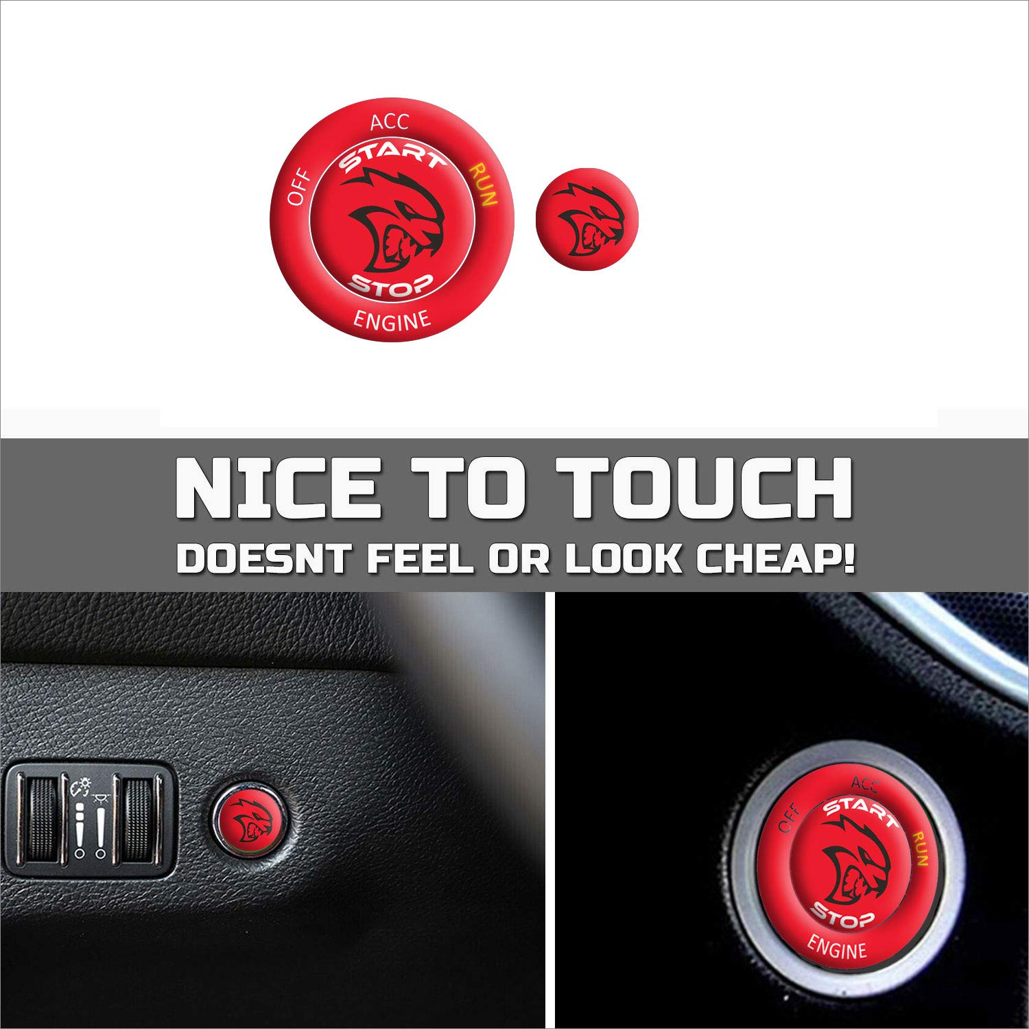 Perfect for Decals ToolEpic for Dodge Challenger Charger Hellcat Decal Accessories 2015-2020 Engine Start Stop Button Knob Trim Sticker Emblem Push to Start Button Ruby Red Badge Cover