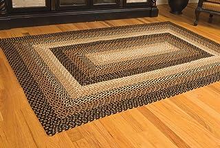 IHF Home Decor Stallion Rectangle Accent Braided Area Rug | Natural Jute Material Handmade Floor Carpet | Black, Mustard, ...